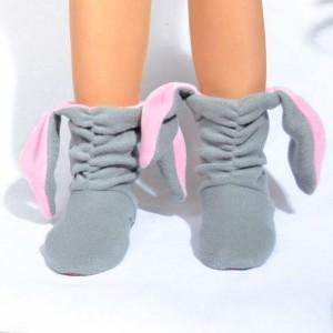 Подарок Тапочки Зайчики серые с розовыми ушами