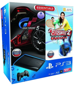 Приставка Sony Playstation 3 Super Slim Bundle (Праздник Спорта 2, Gran Turismo 5, Комплект Move)