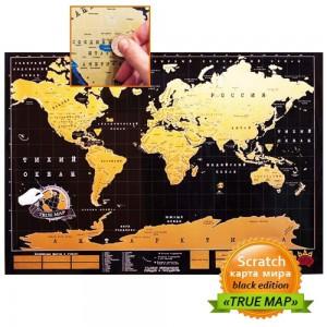Scratch map Black настенная карта мира на русском языке