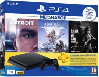Приставка Игровая приставка PlayStation 4 1ТВ в комплекте с 3 играми и подпиской PS Plus