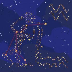 Картина по номерам Идейка Звездный знак 'Водолей' с краской металлик 50х50 см (KH9509)