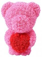 Подарок Мишка из роз c сердцем 60см UFT Bear Flowers UFT BS3 Pink (BS3Pink)