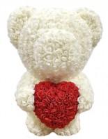 Подарок Мишка из роз c сердцем 60см UFT Bear Flowers UFT BS3 White (BS3White)