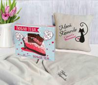 Подарок Подарок к 8 марта: подушка с пледом 'Моей Кошечке' + Шоколадный набор 'Люблю тебя больше, чем...' (суперкомплект)
