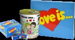 Подарок Подарок к 8 марта: Шоколадный набор 'Love is' + Подарочная жестянка 'Носки это...' + Жевательная резинка Love is... 'Клубника-банан' 20 шт. (суперкомплект)