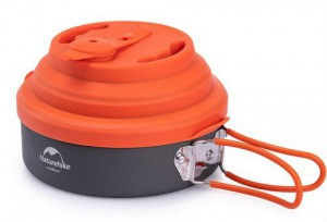 Сковорода Naturehike Camping Pan 1.6 л with silicone lid orange/grey (NH19CJ006)