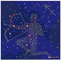 Картина по номерам. Звездный знак 'Стрелец' с краской металлик, 50*50 см (KH9511)