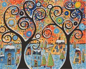 Картины по номерам Идейка 'Зимний городок' 40х50 см (KHO2827)