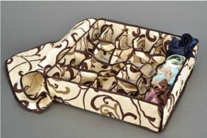 Подарок Органайзер для белья с крышкой 24 отделения Песочный (108605)