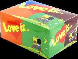 фото Подарок ко Дню святого Валентина: подушка с пледом 'I love you' +  блок жевательной резинки 'Love is...' Mix (суперкомплект) #2