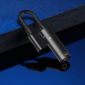 фото Адаптер-переходник Type-C для зарядки телефона и подключения наушников Mini Jack 3.5мм Masslinna LA002 Black #4