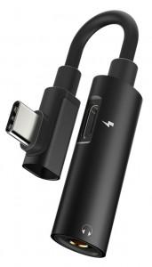 Подарок Адаптер-переходник Type-C для зарядки телефона и подключения наушников Mini Jack 3.5мм Masslinna LA002 Black