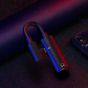 фото Адаптер-переходник Type-C для зарядки телефона и подключения наушников Mini Jack 3.5мм Masslinna LA002 Black #2