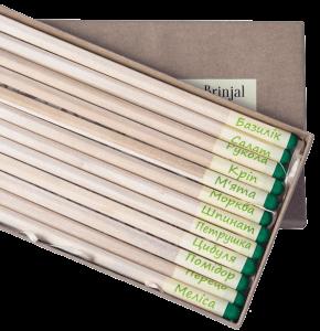 Подарок Набір 12 кольорових олівців Brinjal 'Ecostick': чарівні олівці з насінням рослин