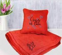 Подарок Набор подушка и плед с вышивкой 'Crazy in love!' Оранжевый (100-9721974)