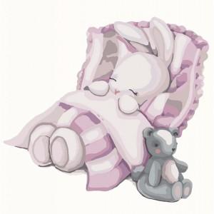 Картина по номерам 'Спокойной ночи, зайка', 30х30 см (КНО2339)
