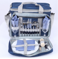 Набор посуды KingCamp Picnic Icy Bag 3 синяя клетка
