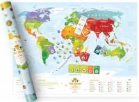 Подарок Скретч-карта мира 'Travel Map KIDS' (с местами)