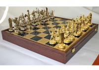 Шахматы 'Троянская война' в деревянном футляре (синие)