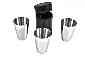 Подарок Набор стаканов S.Quire в черном кожанном чехле (65 мл)