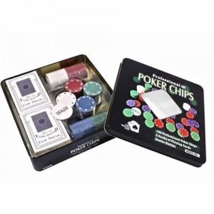 Набор для покера в  оловянном кейсе (100  фишек, 2 колоды)