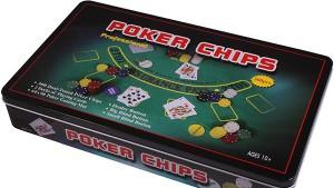 Набор для покера в  оловянном  кейсе (300  фишек, 2 колоды)