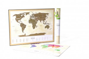 Подарок Скретч-карта світу 'Travel map Gold' (укр.)
