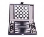 фото Настольная игра 'Дорожный набор в кожаном кейсе: шахматы, шашки, нарды' #2