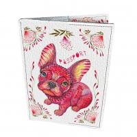 Подарок Кожаная обложка для паспорта 'Пёс в цветах'