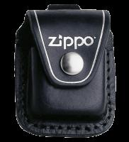 Подарок Чехол Zippo черный с петелькой на кнопке из натуральной кожи