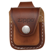 Подарок Чехол Zippo коричневый с петелькой на кнопке из натуральной кожи