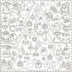 Подарок Обои-раскраски 'Новогодняя Елка с Миньонами' (60 х 60 см)