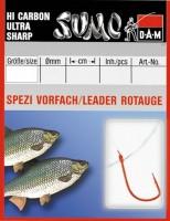 Крючок с поводком DAM Sumo Spezi Rotauge (плотва) №14, 10 шт. (red)