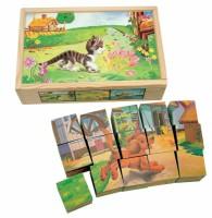 Деревянные кубики Bino 'Домашние животные '