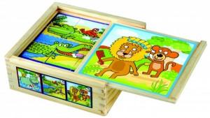 Деревянные кубики Bino 'Веселые животные'