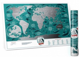 Подарок Скретч-карта мира Travel Map Marine