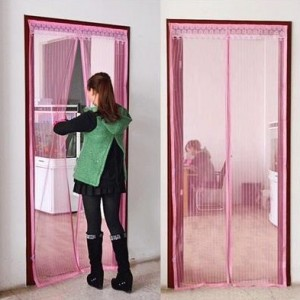 Подарок Дверная антимоскитная сетка на магнитах бордовая