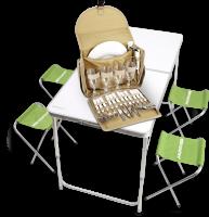Комплект: Набор мебели для кемпинга (раскладной стол и 4 стула) + Набор посуды для пикника Кемпинг СА4-245