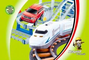 LiXin Железная дорога и автострада - набор с поездом и машинкой 90х58 см (9916)
