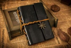 Подарок Винтажный блокнот морской тематики (черный)