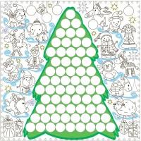 Подарок Обои-раскраски 'Елка' с наклейками 'Тачки' (60 х 60 см)