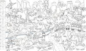 Подарок Обои-раскраски 'Древние динозавры' с наклейками (60 х 100 см)