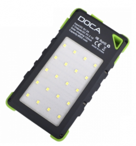 3 в 1 - Power Bank с солнечной панелью + фонарь + детектор валют DOCA D-S8000 (8000mAh), зеленый