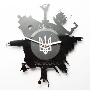 Подарок Настенные часы из винила Моя Україна
