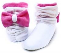 Подарок Тапочки 'Бантики' флисовые (белые с розовым бантом)
