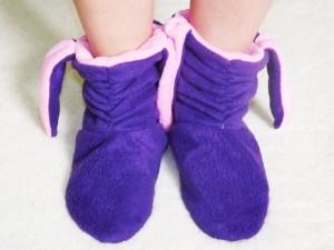 Подарок Тапочки 'Зайчики' флисовые (фиолетовые с розовыми ушками)