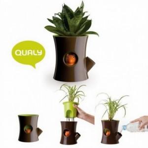 фото Горшок с индикатором полива  Qualy 'Log & Squirrel' коричневый/зеленый (QL10075-BN-GN) #3