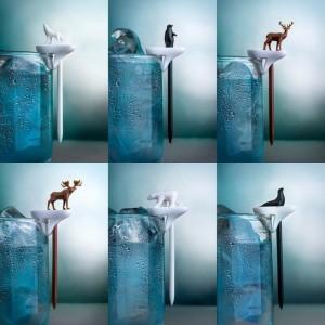 Подарок Набор маркеров для бокалов и шпажек Qualy 'Cool Party Animal' (QL10169-MX)