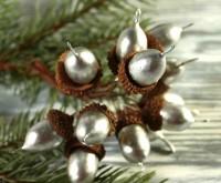 Подарок Новогодний декор 'Желуди' серебро