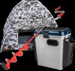 Супер-комплект для зимней рыбалки: палатка, ледобрур, ящик